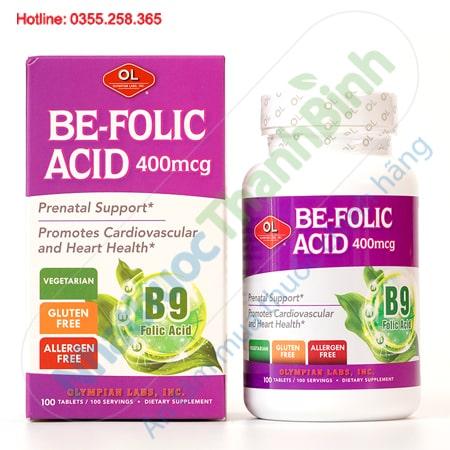 Be Folic Acid bổ sung axit folic cho phụ nữ mang thai