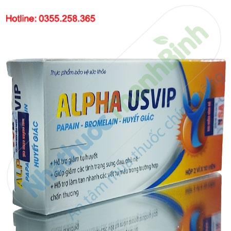 Alpha Usvip hỗ trợ giảm tụ huyết, sưng đau, phù nề do chấn thương