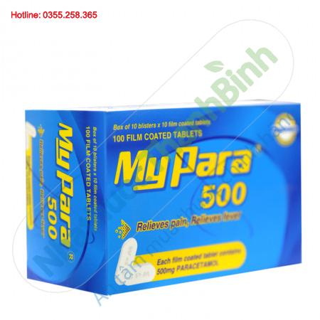 MyPara 500mg (Hộp 10 vỉ x 10 viên) - Giảm đau hạ sốt